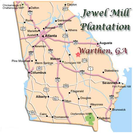 Directions to The Jewel Mill Plantation in Warthen, GA on map of alto georgia, map of interstate 20 georgia, map of i-75 georgia,